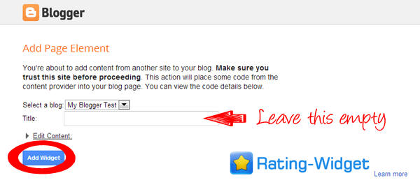 Add Star Rating Widget