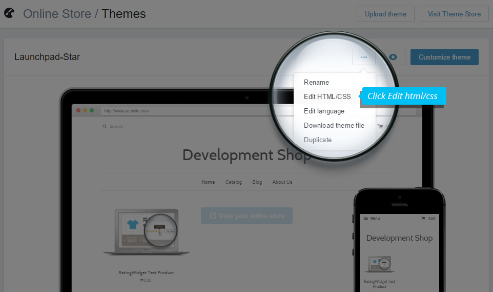 Shopify template editor selection